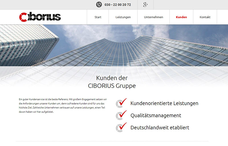 Webdesign referenz security berlin der ciborius gruppe for Grafik design jobs berlin