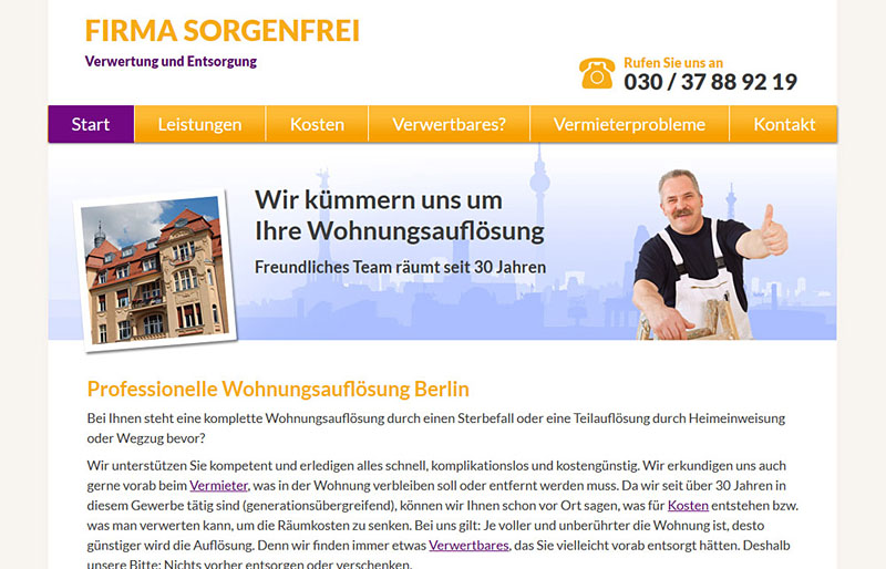 Firma Sorgenfrei - Website